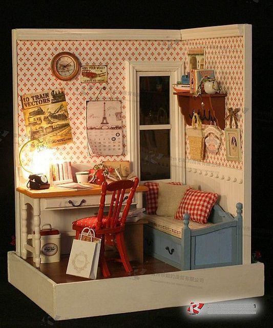 Details About Diy Wooden Doll House Miniature W Light Warm