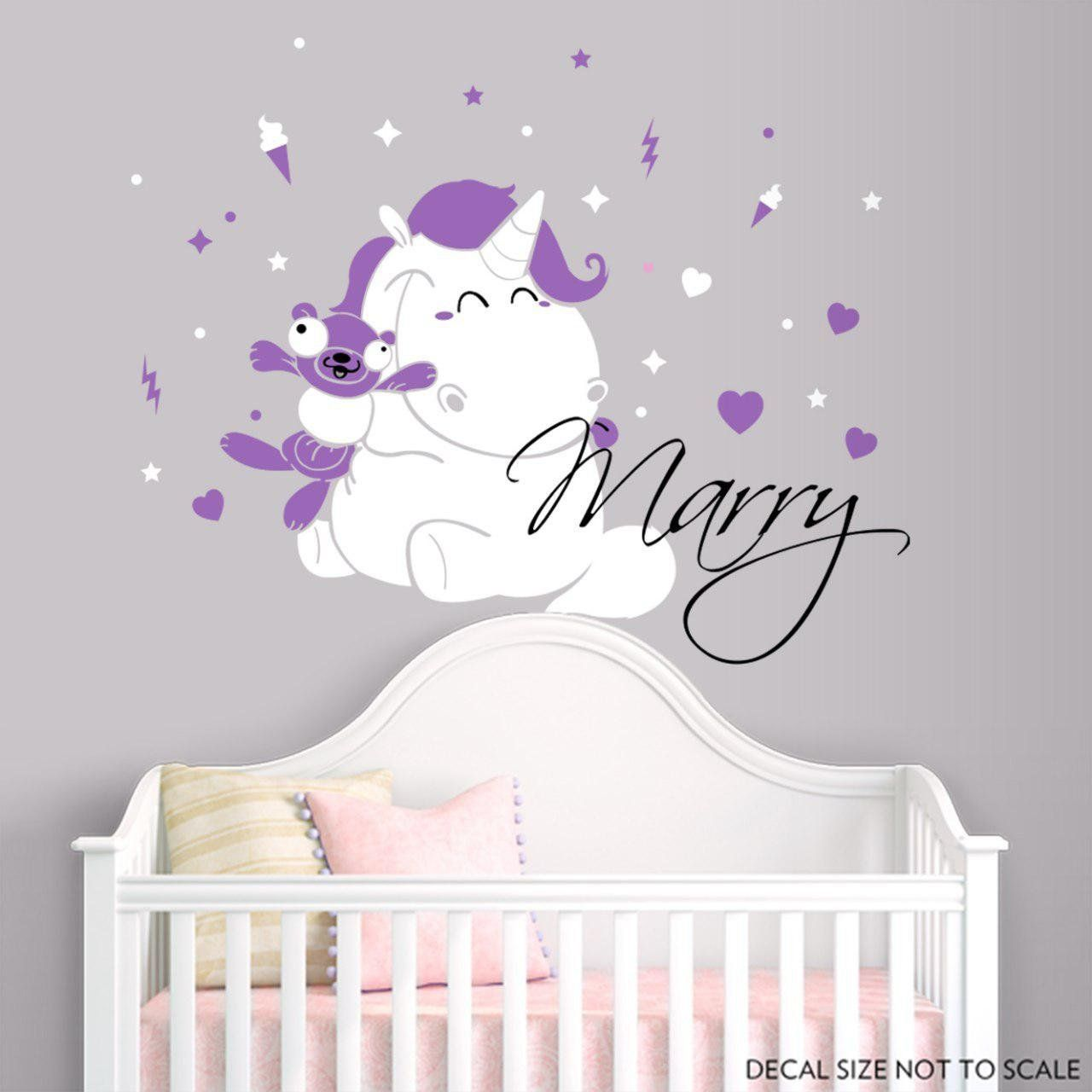 Personalized Name Wall Decal Unicorn Nursery
