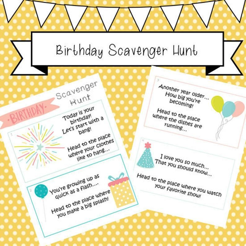 Birthday Scavenger Hunt, Clue Cards, Kids, Toddlers