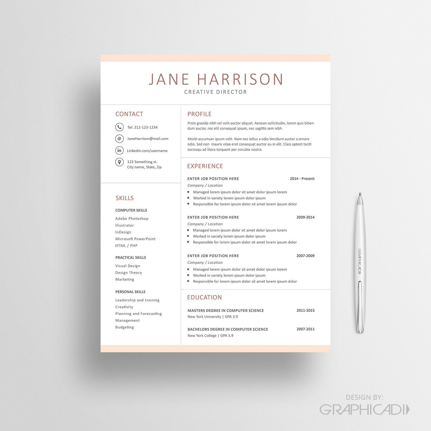 Resume Template  Cv Template Cover Letter And Reference Page For