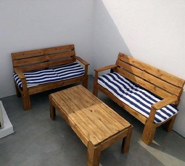 Sillones para terraza con mesa barandal pinterest for Sillones de madera para terraza