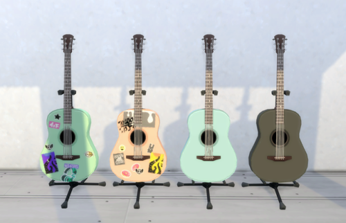 Lunedsims Colourful Stickered Acoustic Guitars I Finished These Up For My 100 Followers Gift Thanks For Sims 4 Cc Furniture The Sims 4 Packs Sims 4 Mods