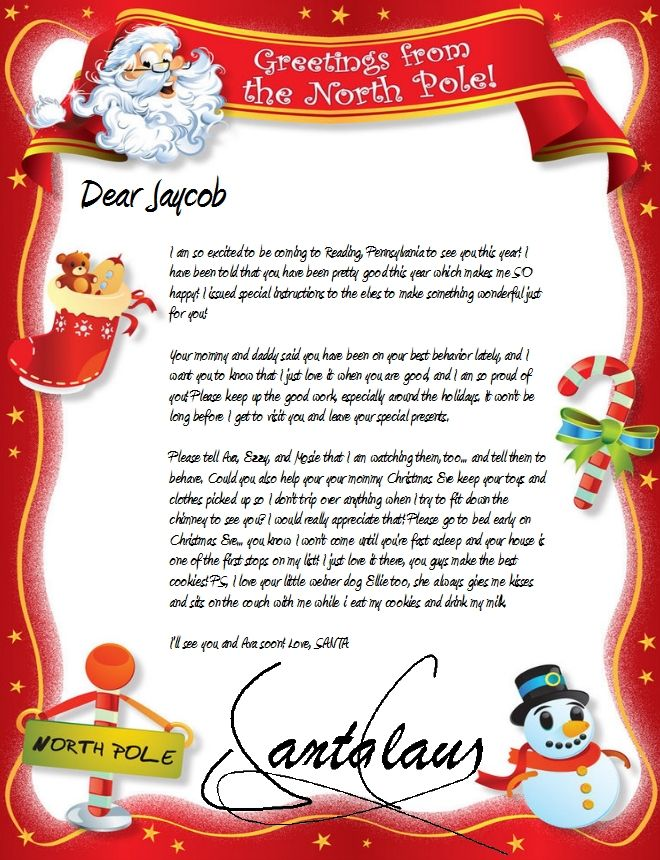 Official North Pole Mail Personalized Letters From Santa