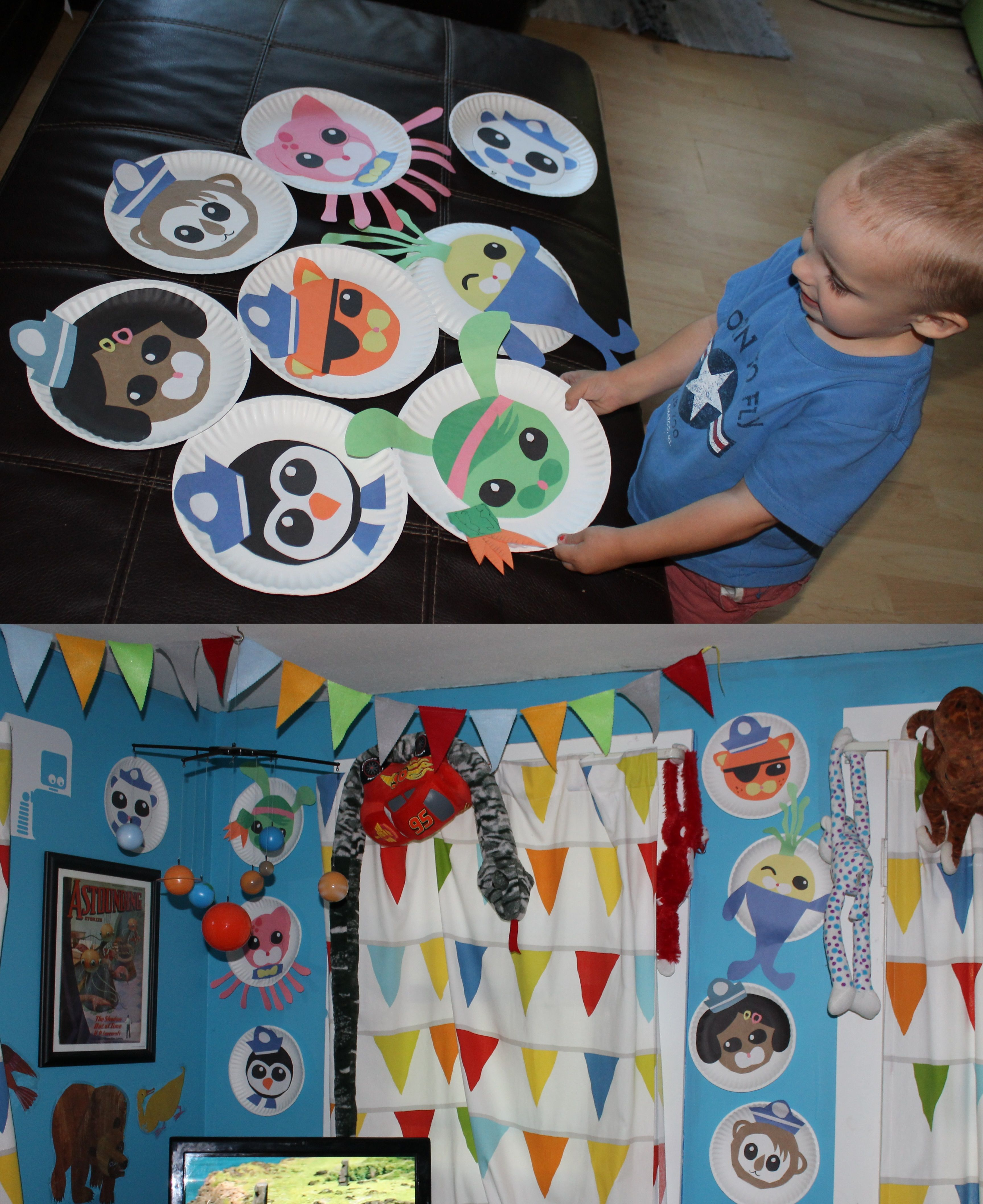 We  made paper plate Octonauts for the Dudeu0027s bedroom wall. & We