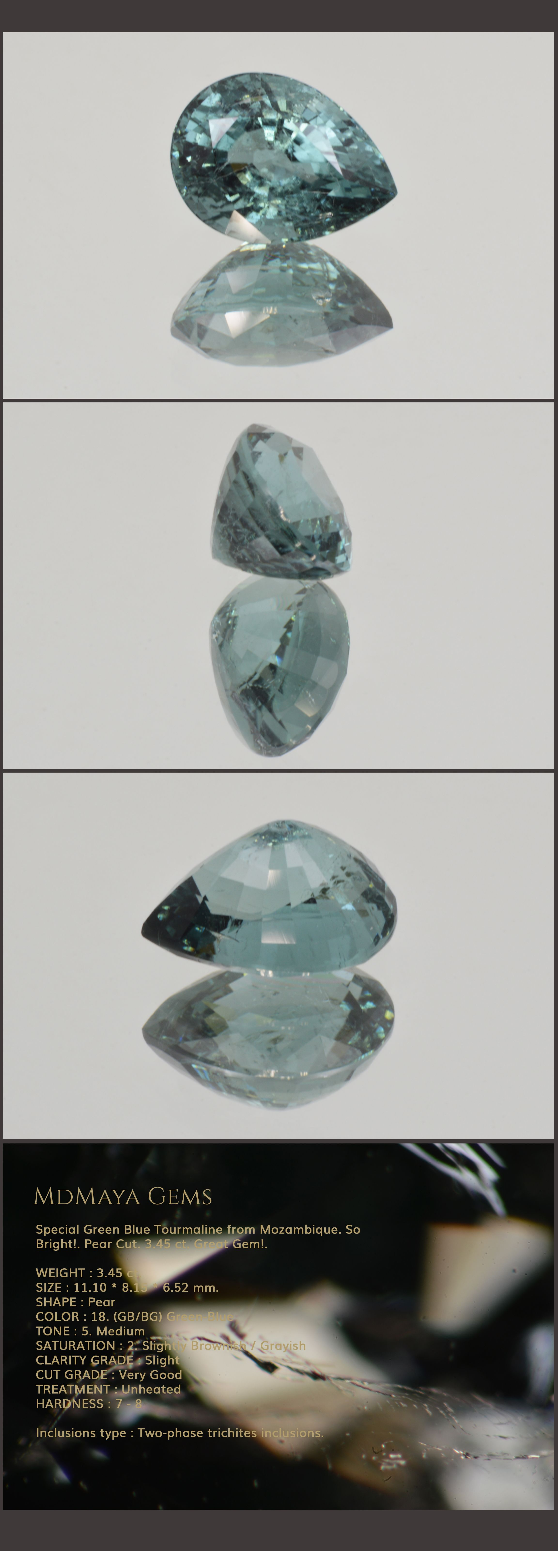 Special Green Blue Tourmaline from Mozambique. So Bright!. Pear Cut. 3.45 ct. Great Gem!.  Loose Blue Green Gemstones for sale MdMaya Gems