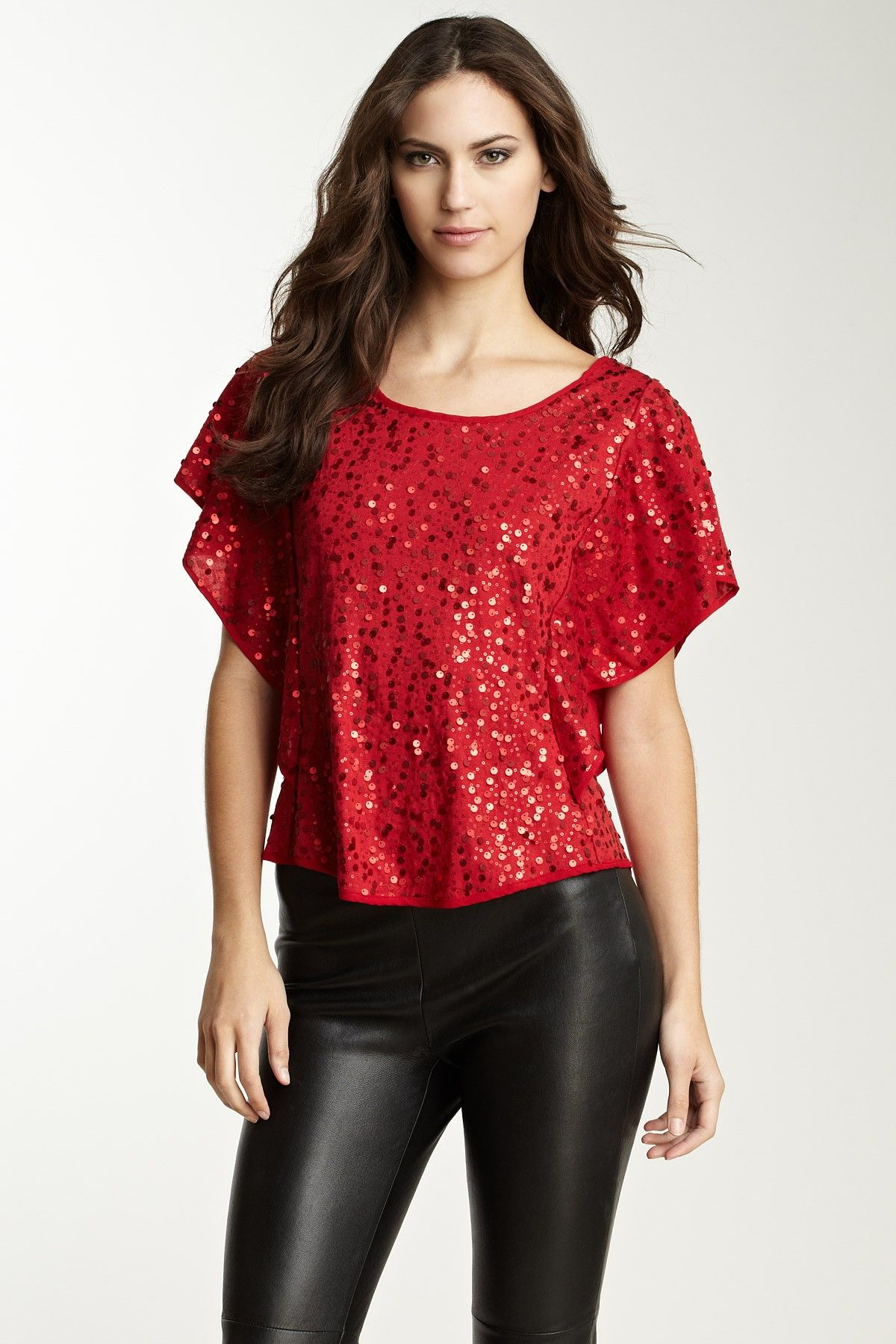 Rampage eci batwing sleeve sequin blouse my style pinterest
