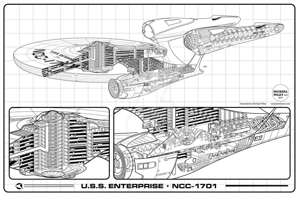 cutaway of the new uss enterprise it s available as a 35 x23 print