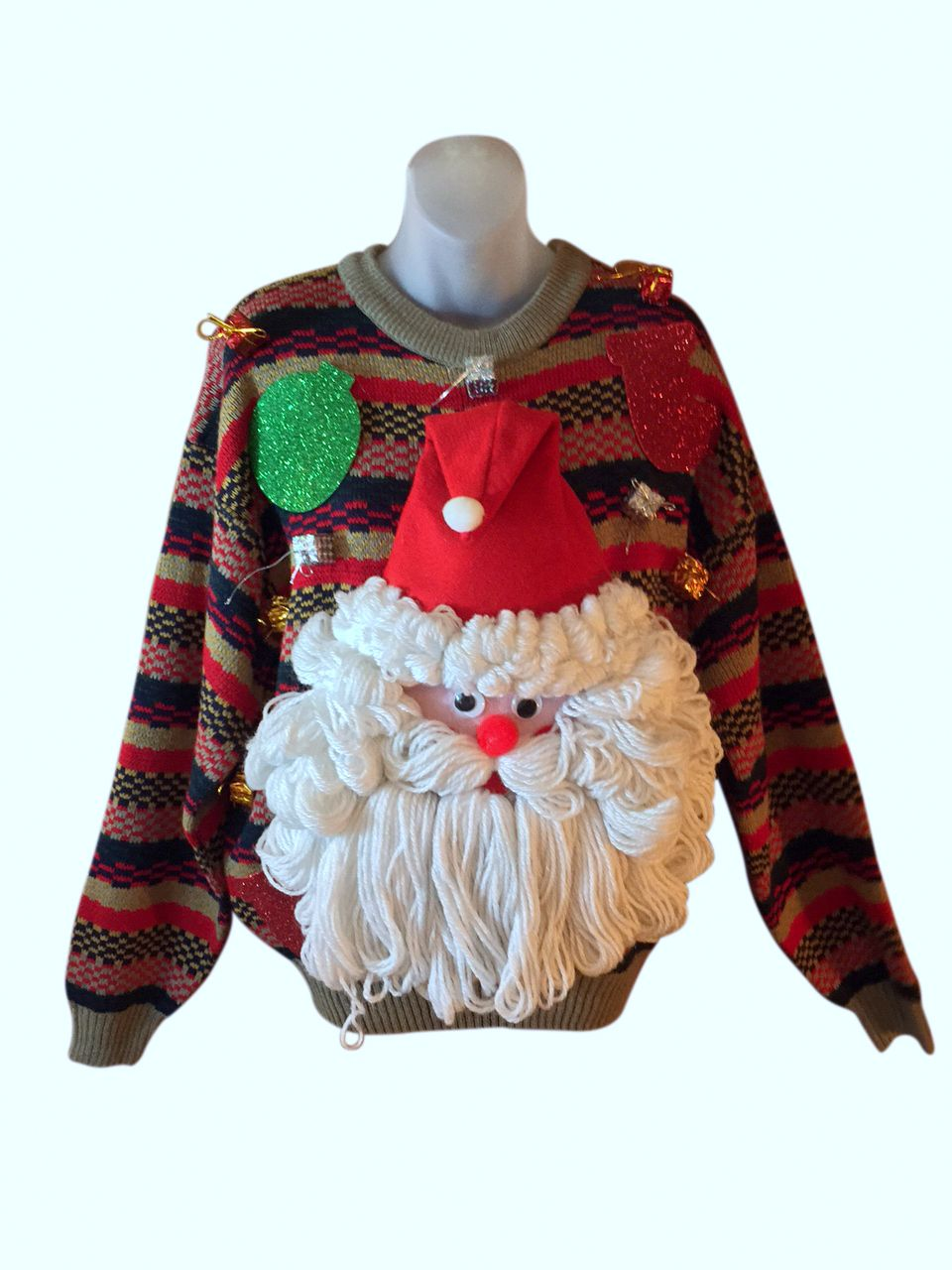 this amazing custom christmas sweater features a big thick plush santa claus doll that sings and talks when you press the button - Custom Christmas Sweater