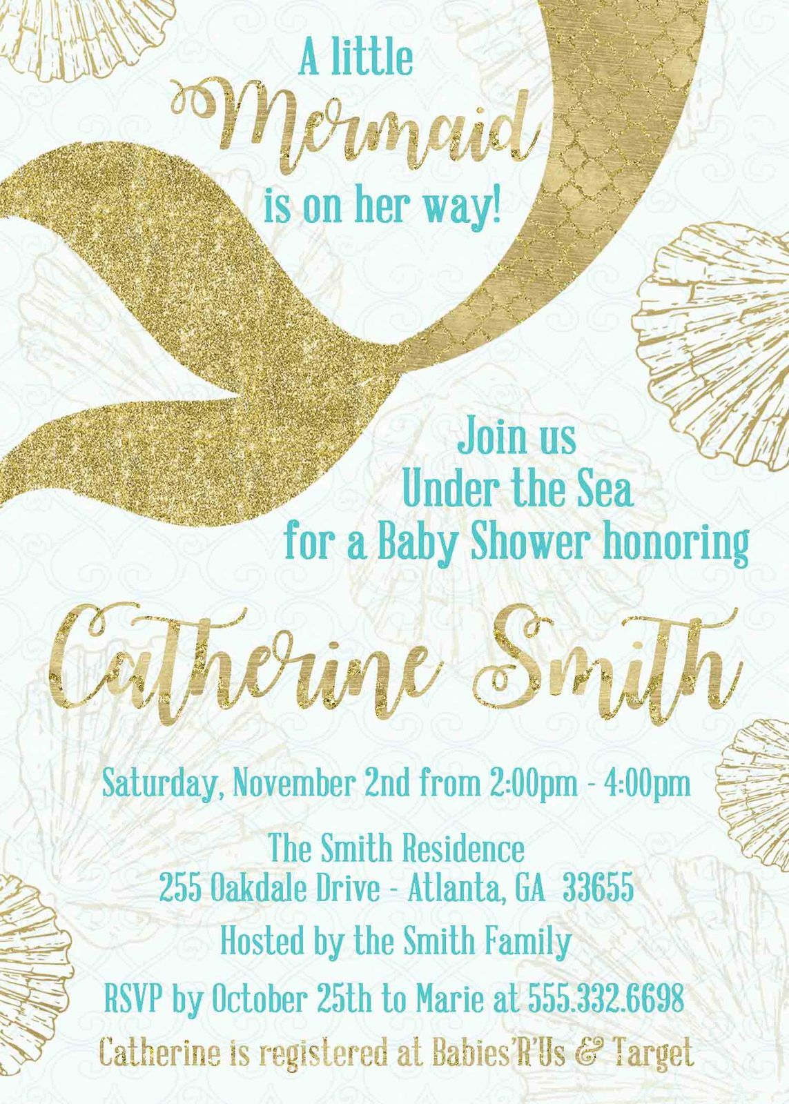 Gold Glitter Mermaid Tail Baby Shower Invitation Personalized ...
