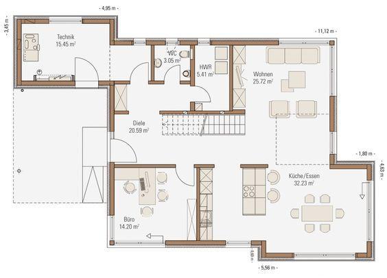 Grundriss Erdgeschoss Fertighaus mit Satteldach Haus