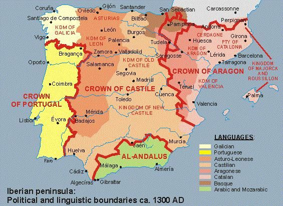 Map Of Spain 1300.M Ballan On Economy Spanish Language Cultural Diversity