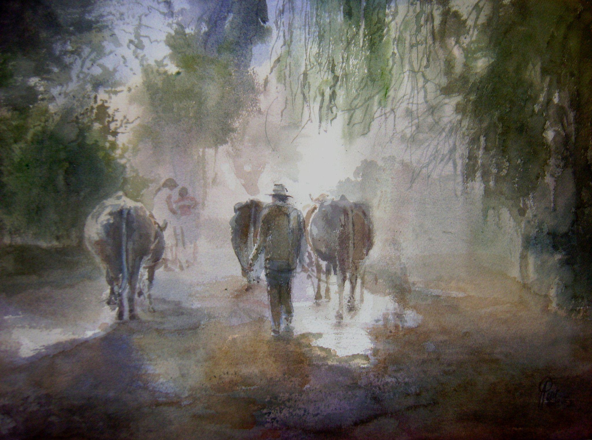 "Ultima Luz"" Ricardo Perez Alcala acuarela s. papel 50 x 70 cm ..."