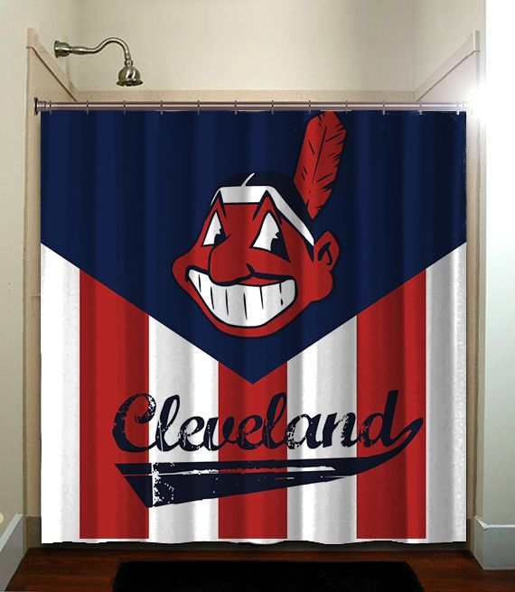 Cleveland Indians Mlb Baseball Shower Curtain Bathroom Home Decor With Images Baseball Shower Curtains Brown
