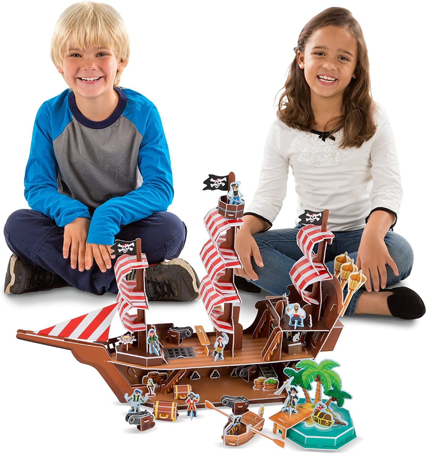 Melissa Doug Pirate Ship 3D Puzzle And Ship In One 100 Pcs
