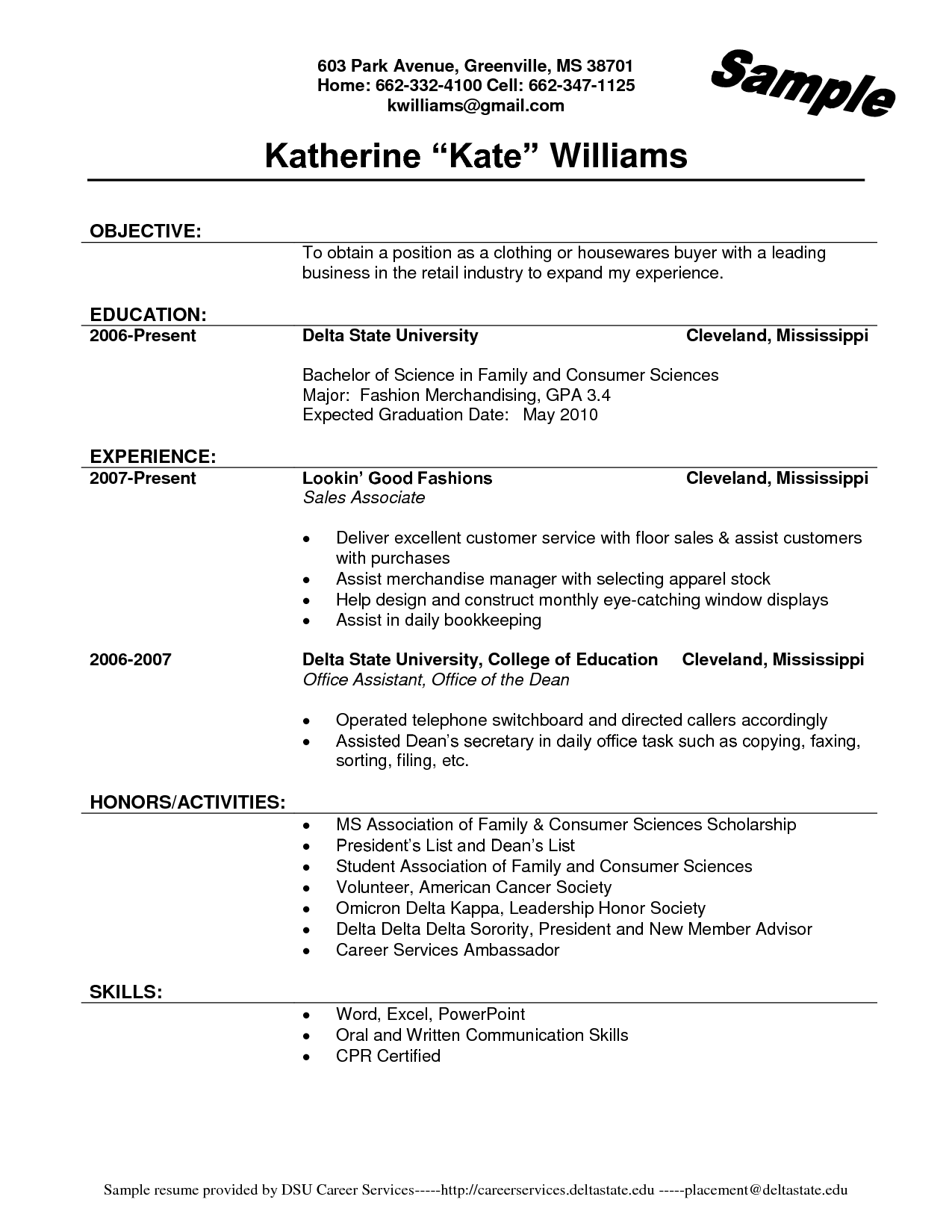 Resume For Retail Job Sample Buzznow