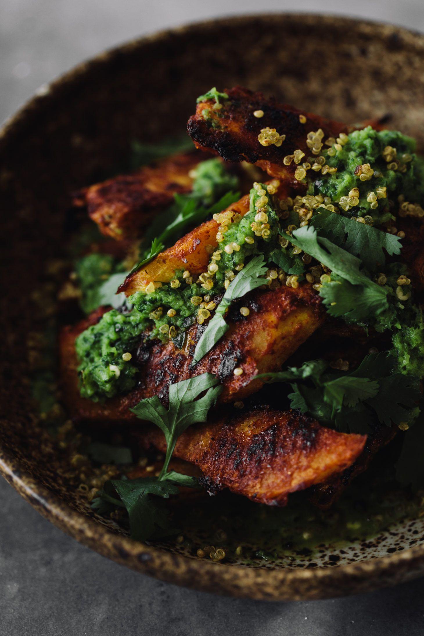 Adobo Acorn Squash Crispy Quinoa And Jalapeño Chimichurri