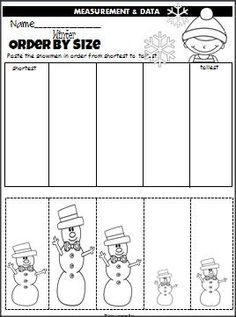 winter snowmen order by size is a cut and paste activity that is perfect for any winter month. Black Bedroom Furniture Sets. Home Design Ideas