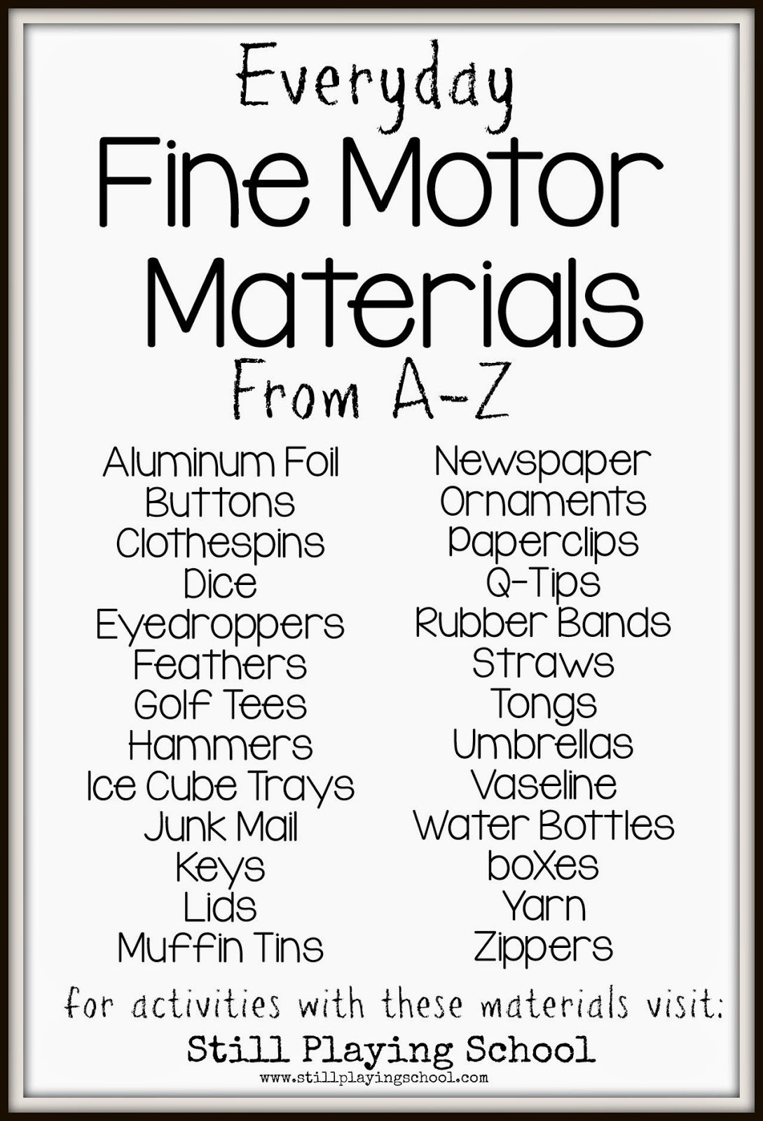 Everyday fine motor materials from a to z sensory asd for Adhd and fine motor skills