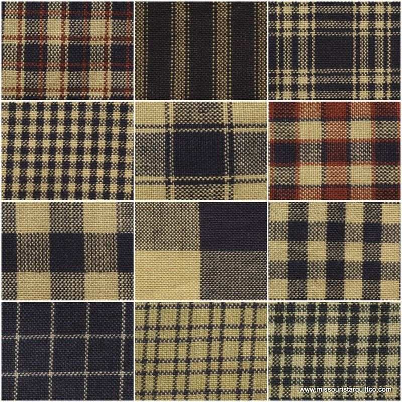 GREAT FOR QUILTS OR CRAFTS NAVY  PLAID 1 YD PRIMITIVE FABRIC