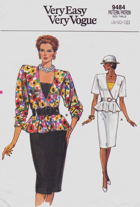 80s Womens Peplum Top, Camisole & Skirt Vogue Sewing Pattern 9484 ...