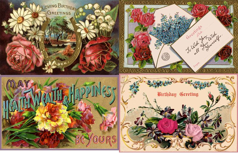Vintage Flowers Birthday Cards ~ Vintage happy birthday card zazzle