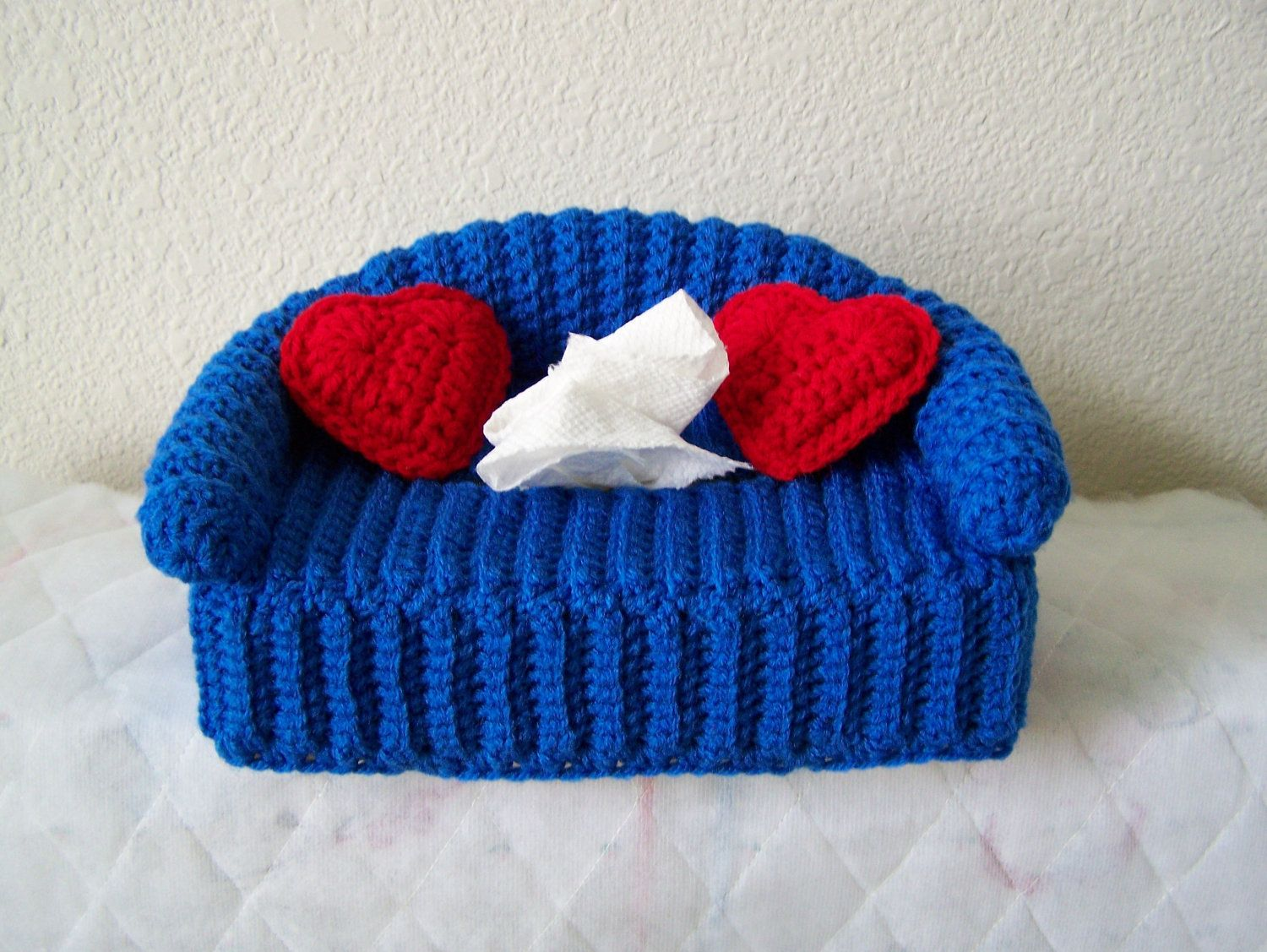 Crocheted Tissue Box Cover With Pillows Crochet Couch