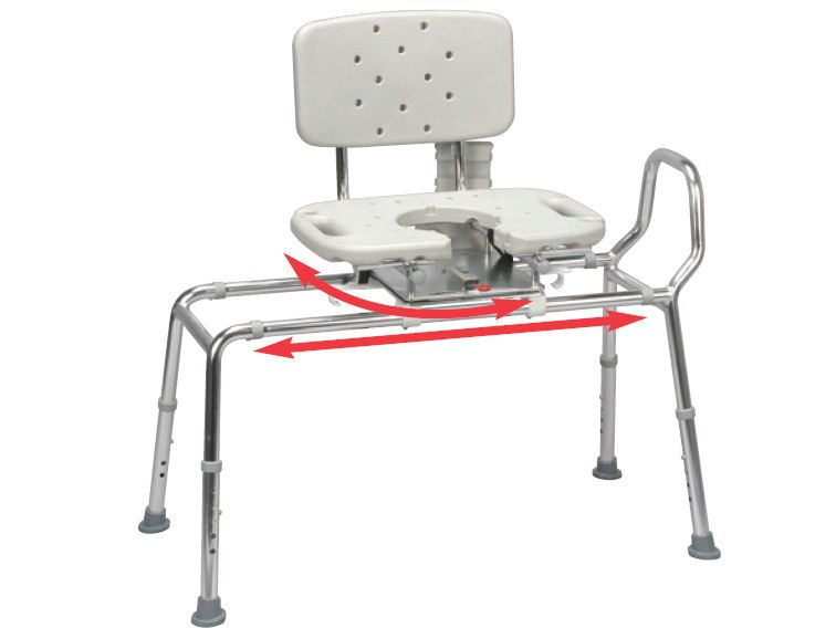 Snap n save sliding shower chair bath transfer bench w cut out swivel seat 37663 handicap Transfer bath bench