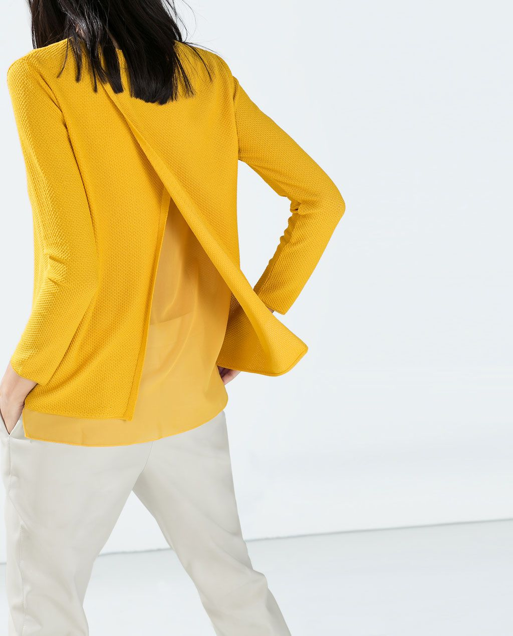 pull effet 2 en 1 avec gaze de zara le faire en blouse avec un cr pe comme base qui d couvre. Black Bedroom Furniture Sets. Home Design Ideas