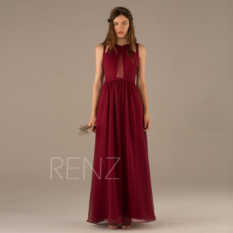 Wine bridesmaid dress dark red prom dress chiffon pleated dress