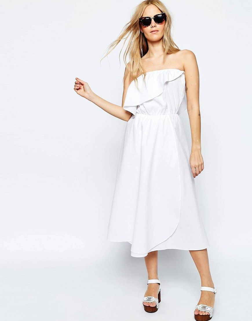 Image of asos frill bandeau midi sundress in clean cotton