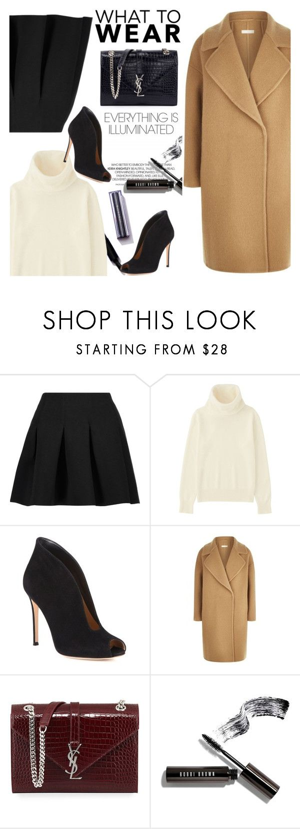 """""""03/01/17"""" by miramiclairs ❤ liked on Polyvore featuring T By Alexander Wang, Uniqlo, Gianvito Rossi, MaxMara, Yves Saint Laurent and Bobbi Brown Cosmetics"""