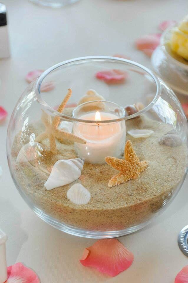 Hiekkaa ja simpukoita kynttilän koristeina. Jotain tällaista voisi kokeilla. Kultakalamaljoja oli ainakin Löytötexissä.