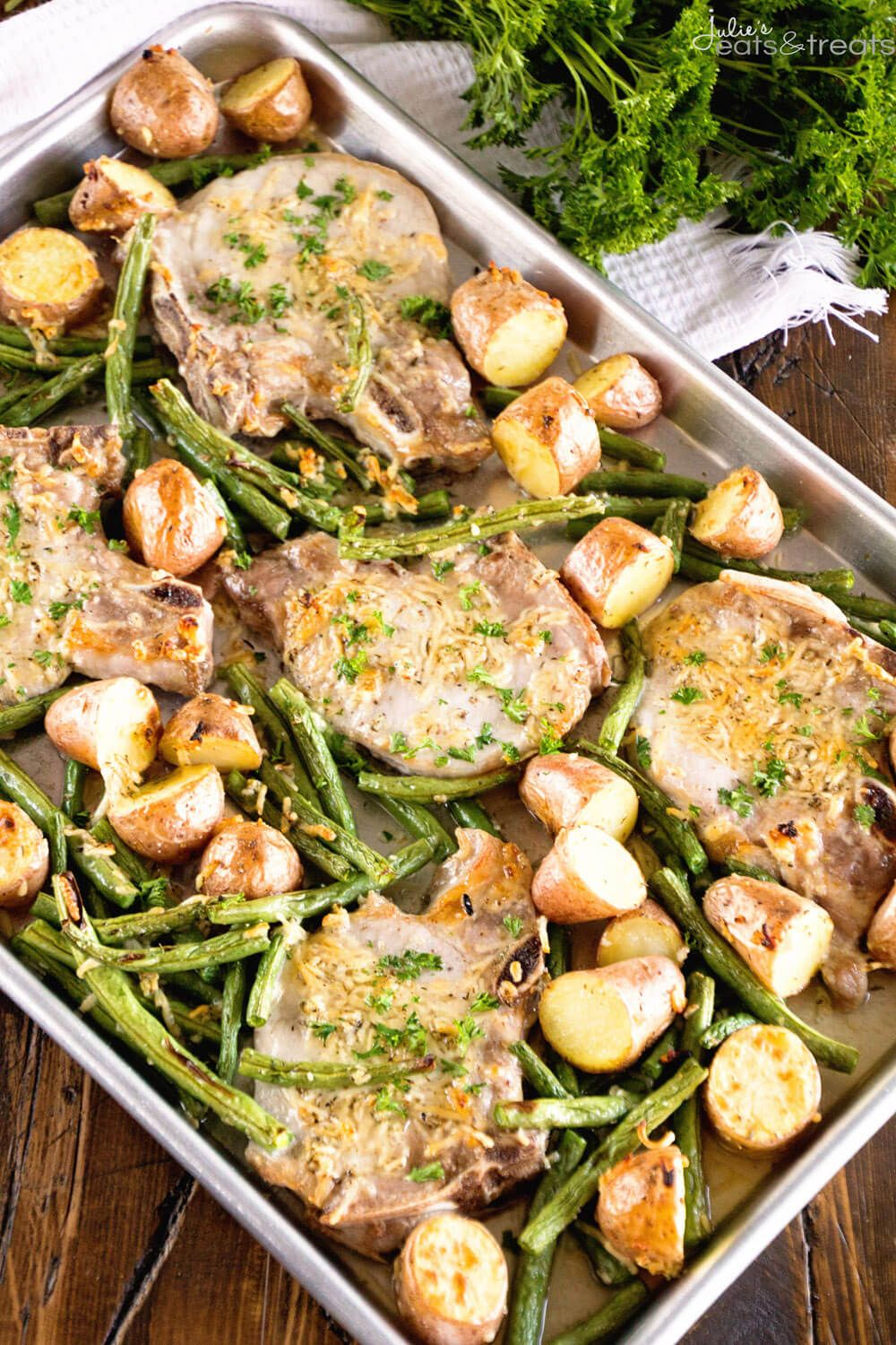 One Pan Parmesan Pork Chops And Veggies