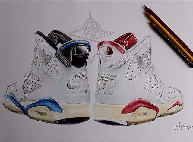 This Sneaker Drawing Of The Jordan 6 U0027Sport Blueu0027 (left) And U0027
