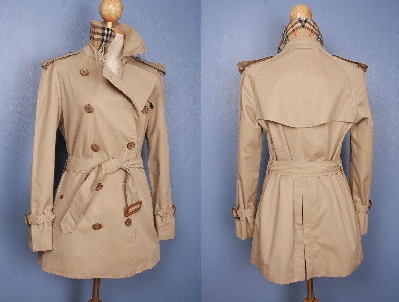 Womens BURBERRY short trench coat beige - size UK 6/8 Small