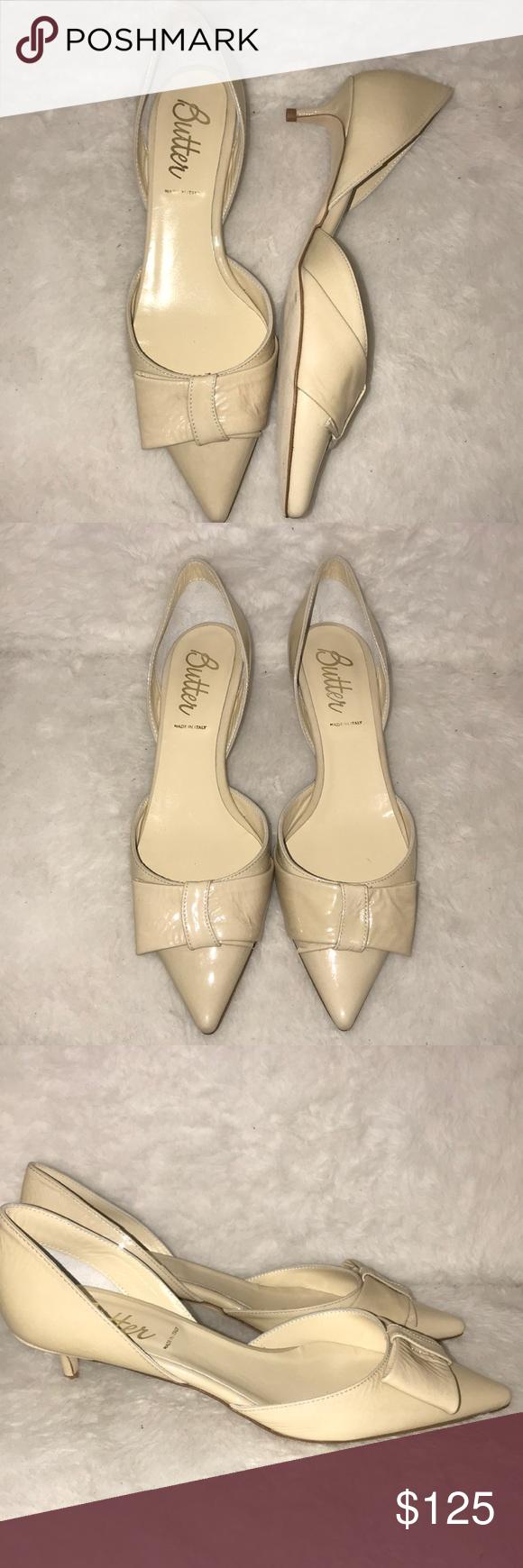 Cream Patent Leather Pointed Toe Kitten Heels Kitten Heels Heels Butter Shoes
