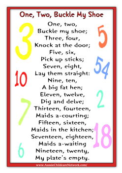 One Two Buckle My Shoe Rhyme Kindergarten Songs Nursery