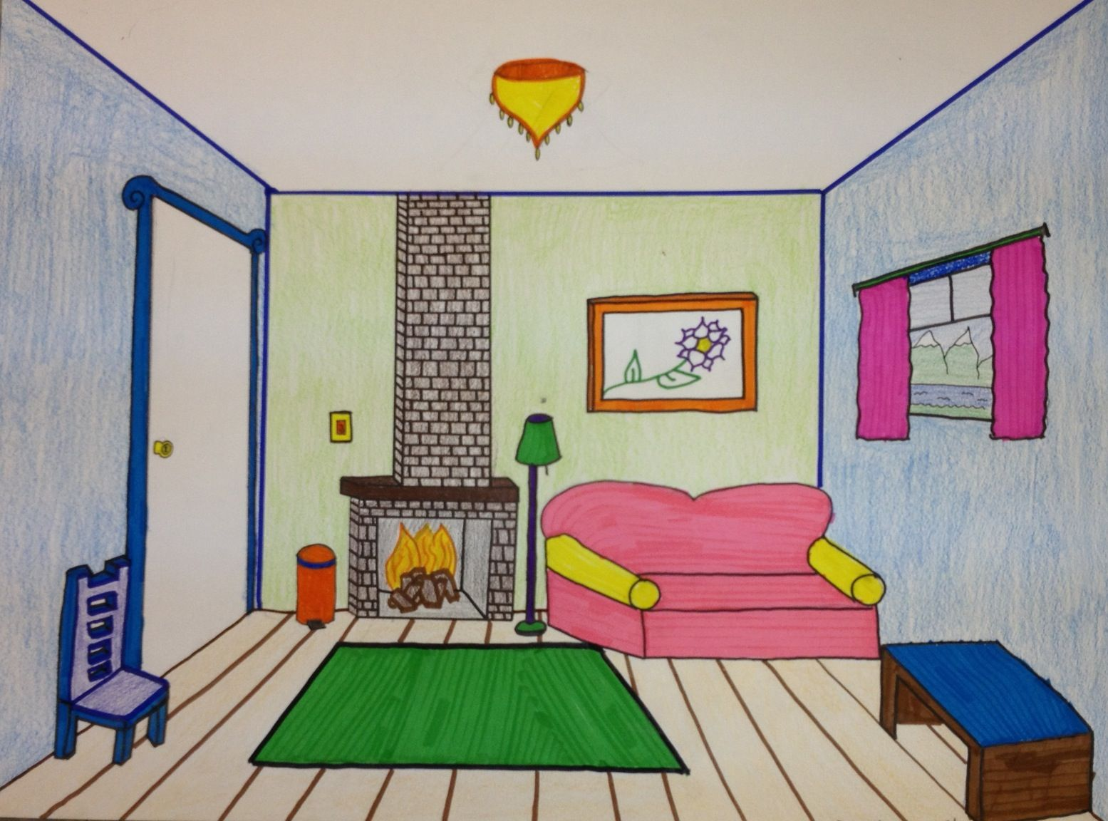 Bedroom drawing with color - Colored One Point Perspective Drawing Google Search