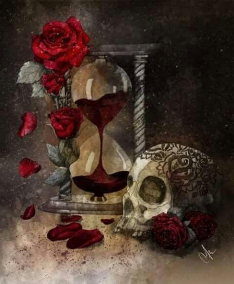 Skull roses n hour glass