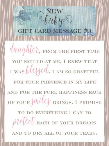 Baby gift message 3 of 10.  sc 1 st  Pinterest & 10 sweet messages for new baby girl gift cards | for baby ? | New ...