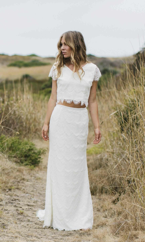 Bohemian lace dress u gown ivory lace bridal maxi crop top long