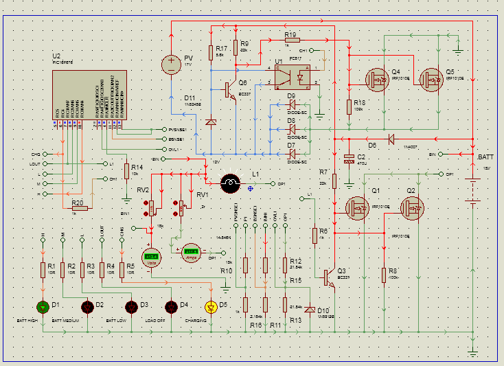 pic microcontroller based solar charge controller scematic