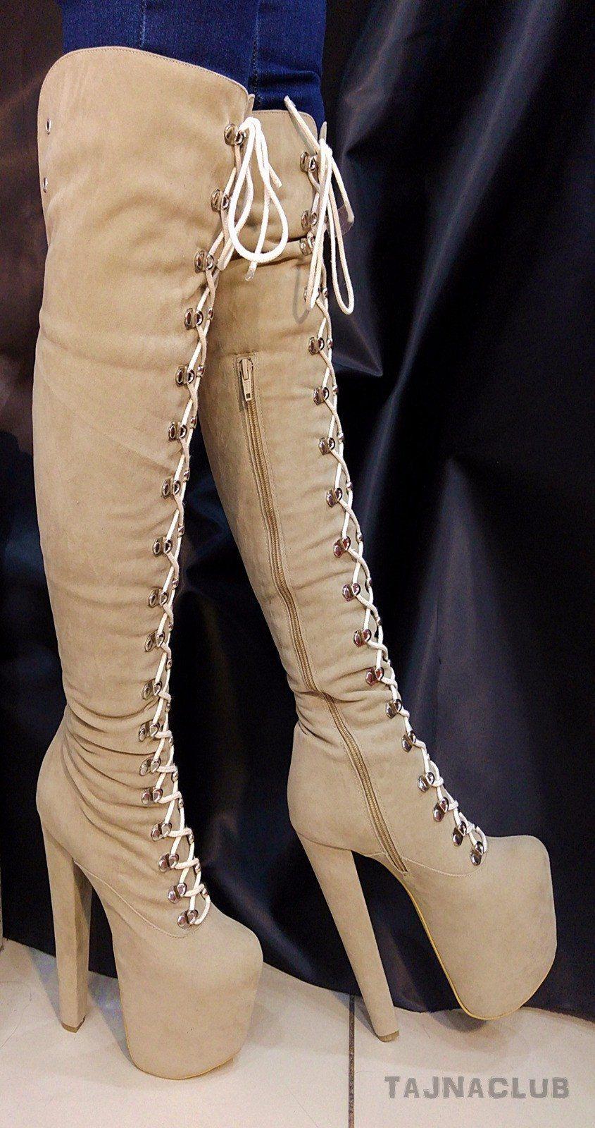 Cream Beige Stiefel Suede Lace Up Platform Stiefel Beige High Heel Schuhes   Stiefel 020652