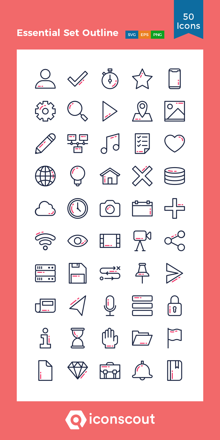 Download Download Essential Set Icon pack - Available in SVG, PNG ...