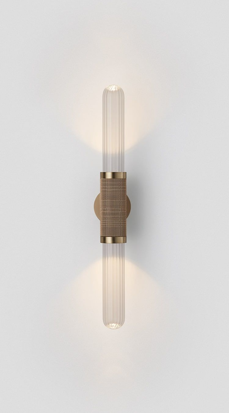 Lamp Frantzen Verlichting Scandal Wall Sconce Short Clear Fluted Glass Brass Articolo