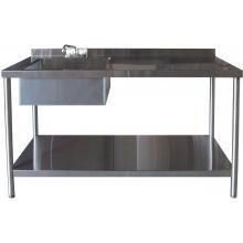 Bbqguys 30 X 60 Inch Outdoor Rated Stainless Steel Utility Table With Sink And Hot Cold Faucet Bbqguys Stainless Steel Table Fish Cleaning Table Fishing Table