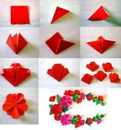 Easy paper flower folding ukrandiffusion really sweet flat origami flower fleur pinterest origami mightylinksfo