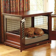 Furniture dog kennel and much more attractive than a regular crate