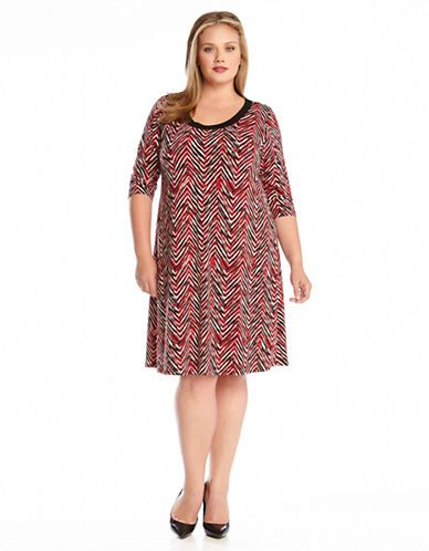 Karen Kane Plus Size Fashion Red and Black Painted Chevron ...
