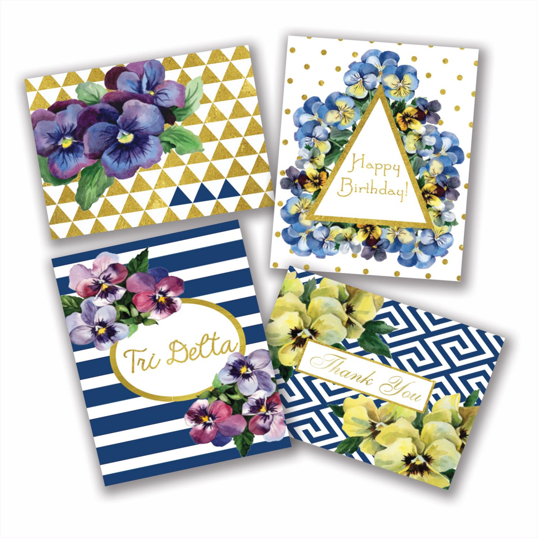 Delta Shop - Pansy Note Cards - Tri Delta
